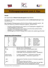 Prüfungsprogramm zum 2. Kyu (Braungurt) - Karate Hayashi St. Pölten