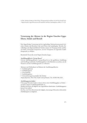 Beispiele für Vernetzung der Akteure in der Region Emscher-Lippe