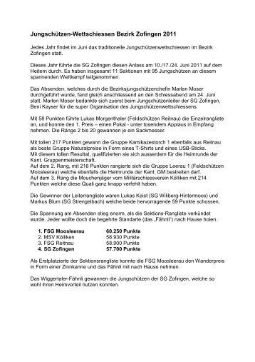 Bericht WS 2011 - Militärschiessverein Kölliken