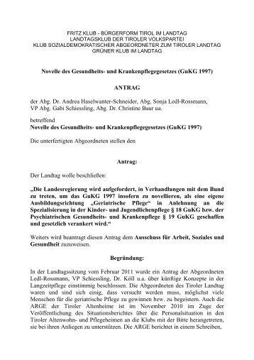 Novelle des Gesundheits- und Krankenpflegegesetzes ... - Liste Fritz