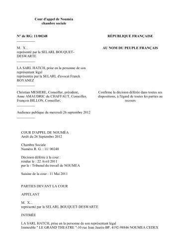 Cour DAppel De Rouen Chambre Sociale Arret Du