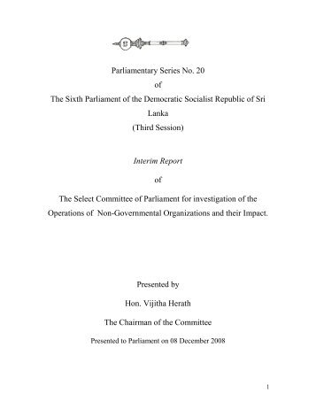 Interim Report of The Select Committee of Parliament for ...