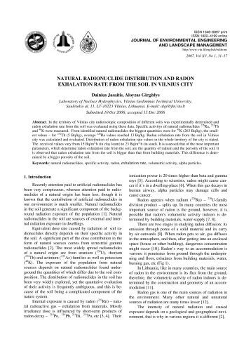 natural radionuclide distribution and radon exhalation rate from the ...
