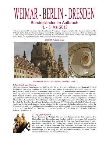 Reiseinformation Weimar - Berlin - Dresden - Logos Reisen