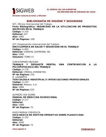 Bibliografía de Salud Ocupacional e Higiene Industrial - Sigweb