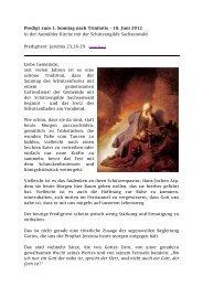 Predigt zum 1. Sonntag nach Trinitatis – 10. Juni 2012 in der ...