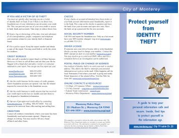 Protect yourself from IDENTITY THEFT - City of Monterey