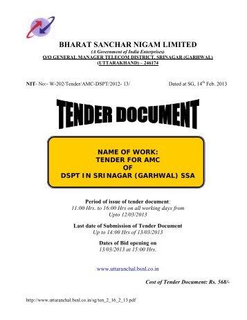 Tender for AMC of DSPT in Srinagar (Gwl.) - Webline