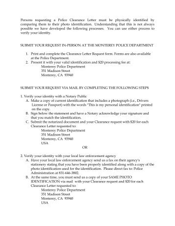 instructions and clearance letter request form - Letter Request Form