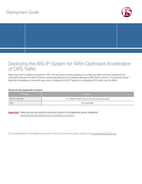 CIFS acceleration (BIG-IP v11 4: AAM) - F5 Networks