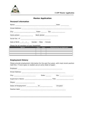 CAPP Mentor Application Mentor Application ... - Accord Corporation