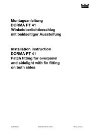 Installation instruction DORMA PT 41 Patch fitting for overpanel and ...