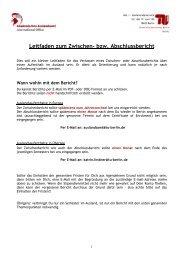 Leitfaden zum Zwischen- und Abschlussbericht - TU Berlin