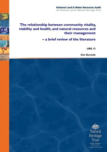 The relationship between community vitality, viability and health ...
