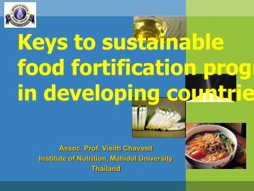 Dr. Visith food fortification India - Nutrition Foundation of India