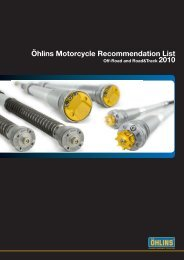 Öhlins Motorcycle Recommendation List - Steve Cramer Products
