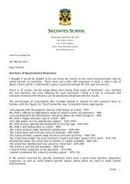 Questionnaire Summary – March 2013 - Silcoates School