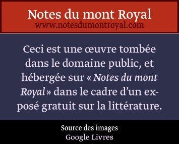 de litterature. - Notes du mont Royal
