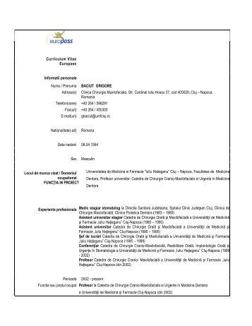 Curriculum Vitae Europass Informatii personale Nume ... - ARACIS