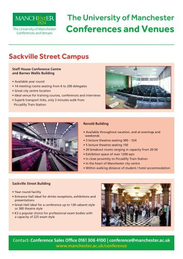 Sales Fact Sheet - Manchester Conference Centre Venues