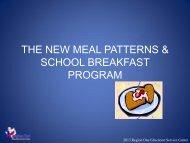 Breakfast Requirements School Year 2013-2014 - Region 1