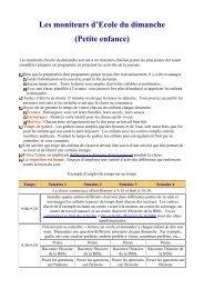 moniteurs d'Ecole du dimanche - Levangelisation.com