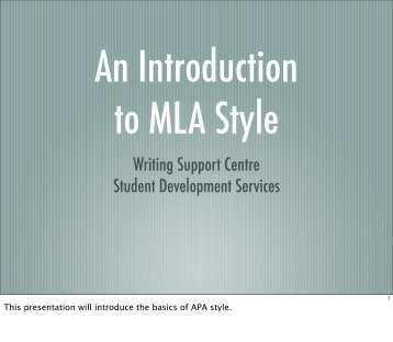 introduction to MLA style - Student Development Services