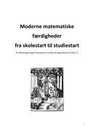 Moderne matematiske færdigheder fra skolestart til studiestart