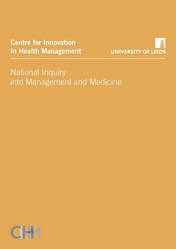National Inquiry into Management and Medicine - Centre for ...