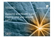 Systems and Health Care: Finding your way around part 2
