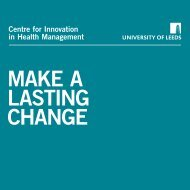 CIHM Brochure - Centre for Innovation in Health Management