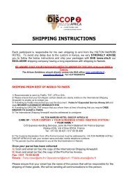 SHIPPING INSTRUCTIONS - Discop