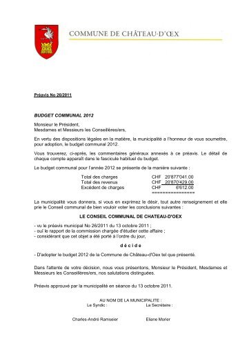 Préavis 26-2011 - Budget communal 2012 - Château-d'Oex