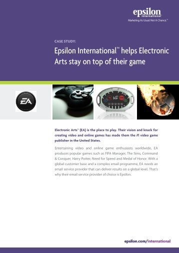 Epsilon InternationalTM helps Electronic Arts stay on top of their game