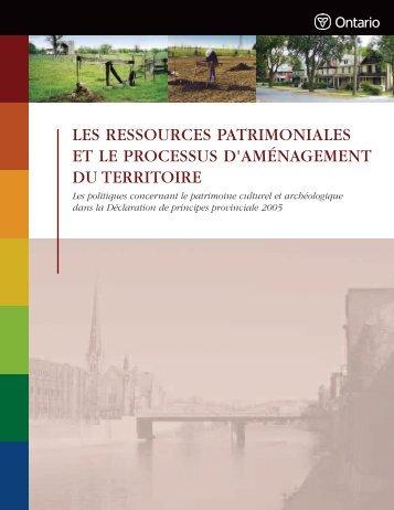 les ressources patrimoniales et le processus d'aménagement du ...