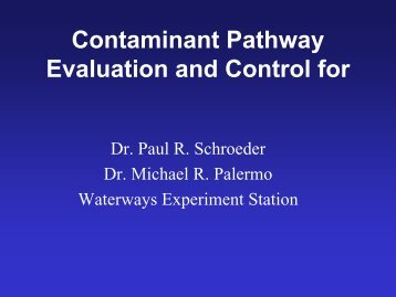 Contaminant Pathway Evaluation and Control for Confined Disposal ...