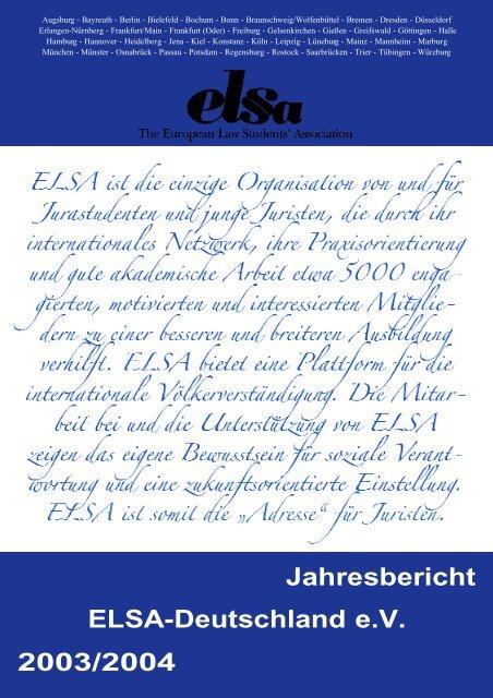 Jahresbericht 2003/2004 ELSA-Deutschland e.V. - ELSA Germany