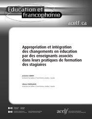 Appropriation et intégration des changements en éducation ... - acelf