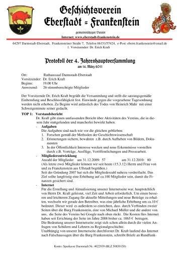 Protokoll der Jahreshauptversammlung 2011 - Geschichtsverein ...