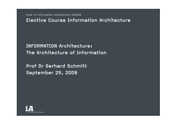 Slides PDF - iA – Chair of Information Architecture - ETH Zürich
