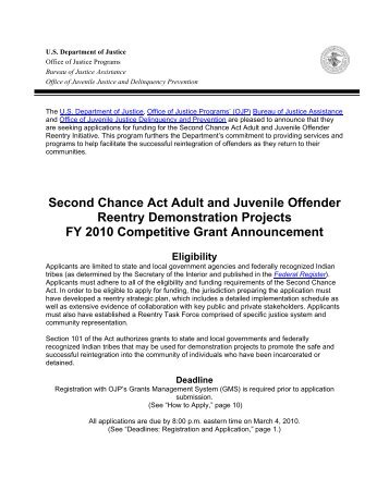 Second Chance Act Adult and Juvenile Offender Reentry - Office of ...