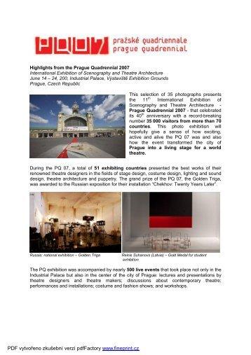 PQ photo exhibition presentation nový - Prague Quadrennial