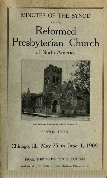 Reformed Presbyterian Minutes of Synod 1909 - Rparchives.org