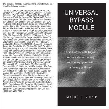 UNIVERSAL BYPASS MODULE - Meijer