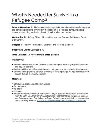 What is Needed for Survival in a Refugee Camp? - Center for ...