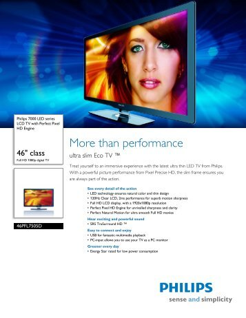 46PFL7505D/F7 Philips LCD TV with Perfect Pixel HD Engine - Meijer