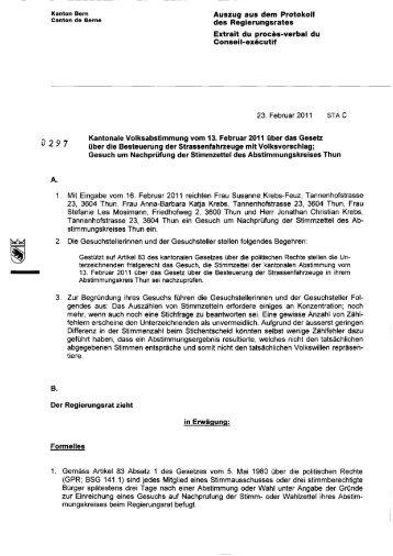 Kanton Bern Auszug aus dem Protokoll canton de ... - Regierungsrat