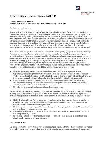 Hightech Pilotproduktion i Danmark (HTPP).pdf - BedreInnovation.dk