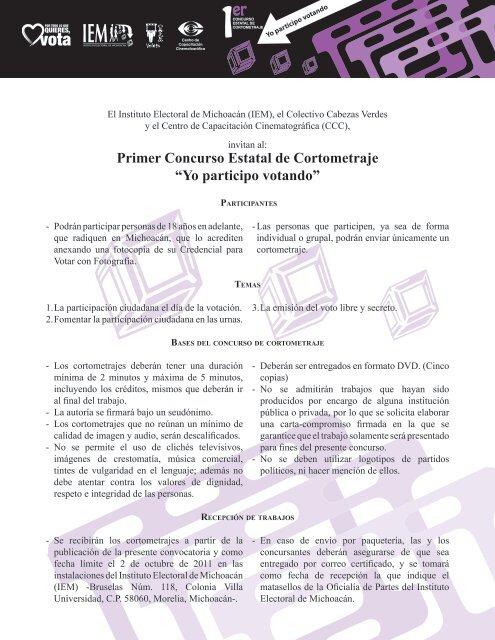 """Primer Concurso Estatal de Cortometraje """"Yo participo votando"""""""