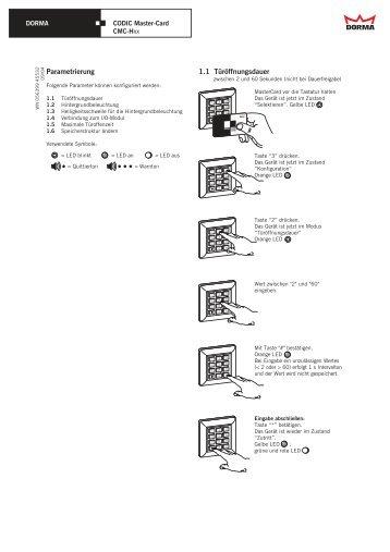Parametrierung 1.1 Türöffnungsdauer